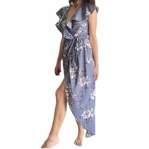 Blue Floral Hi Low Maxi Wrap Dress small